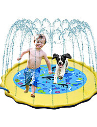 """cheap -Inflatable Splash Pad, Sprinkle and Splash Play Mat, 69"""" Outdoor Backyard Sprinklers Toys for Toodler Boys Girls Dogs, Children Fountain Baby Water Playmat Splashpad with Wading Pool (Yellow)"""