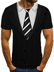 cheap -Men's T shirt 3D Print Optical Illusion 3D Print Print Short Sleeve Casual Tops Casual Fashion Black / White