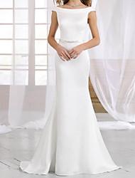 cheap -Sheath / Column Wedding Dresses Off Shoulder Sweep / Brush Train Italy Satin Sleeveless Simple with Sashes / Ribbons 2021