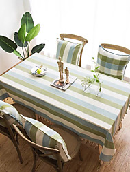 cheap -Table Cloth polyester fibre Dust-Proof Contemporary Striped Tabel cover Table decorations for Daily Wear rectangule 60*60/90*90/100*140/140*160/140*180/140*200/140*220/140*250/140*260/140*300 cm Blue