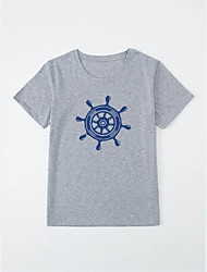 cheap -Men's Unisex T shirt Hot Stamping Rudder Plus Size Print Short Sleeve Casual Tops 100% Cotton Basic Casual Fashion Gray