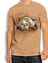 cheap -Men's Tees T shirt 3D Print Cat Graphic Prints Animal Print Short Sleeve Daily Tops Basic Casual Khaki