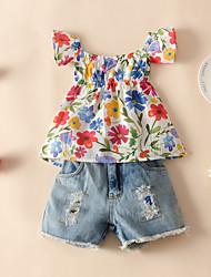 cheap -Kids Toddler Girls' Clothing Set Floral Short Sleeve Print White Active Regular 2-6 Years