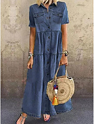cheap -Women's Denim Dress Maxi long Dress Blue Light Blue Short Sleeve Solid Color Vintage Style Classic Retro Summer Shirt Collar Oxford Retro Vintage Classic & Timeless Retro S M L XL XXL 3XL