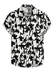 cheap -Men's Shirt Floral Short Sleeve Daily Tops 100% Cotton Basic Boho Black / White