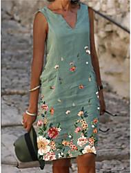 cheap -Women's A Line Dress Knee Length Dress Blue Green Sleeveless Floral Print Summer V Neck Elegant 2021 M L XL XXL 3XL 4XL