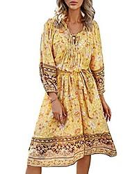 cheap -Women's Sundress Knee Length Dress Blue Yellow Orange Dark Blue 3/4 Length Sleeve Print Spring & Summer Boho Loose 2021 S M L XL