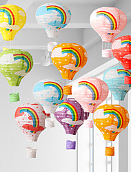 cheap -Reusable Hanging Paper Lanterns Rainbow Hot Air Balloon Paper Lantern Chinese Party Ball Lamp Decor Birthday Wedding Supplies