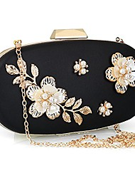cheap -women's evening clutch bag satin flower pearl beaded evening handbag bridal clutch purse prom (black)