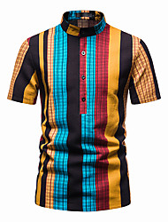 cheap -Men's Shirt Other Prints Striped Short Sleeve Daily Tops 100% Cotton Blue