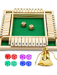cheap -Dice Game Wooden Board Game a Classic 4 Sided Family Math Game with 10 Dices for Kids Adults 2-4 Players (Shut-The-Box)