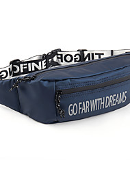cheap -Unisex Bags PU Leather Fanny Pack Zipper Letter 2021 Daily Outdoor Black Green Dark Blue