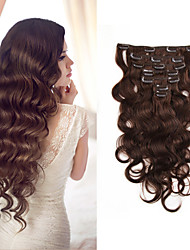 cheap -Clip In Hair Extensions Human Hair Body Wave 7pcs/set Remy Hair 70g 14-22 inches Double Weft Natural Color Hairpieces For Women