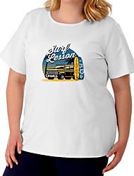 cheap -Women's Plus Size Tops T shirt Print Letter Large Size Crewneck Short Sleeve Basic Big Size XL XXL 3XL 4XL 5XL White Black Gray / Cotton
