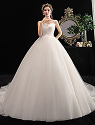 cheap -Princess Ball Gown Wedding Dresses Strapless Court Train Tulle Sleeveless Formal Romantic with Side-Draped 2021