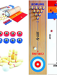 "cheap -3 in 1 Table Top Shuffleboard, Curling Game and Bowling Set (10"" x 40"")
