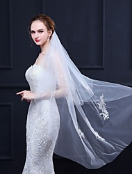 cheap -Two-tier Lace Wedding Veil Chapel Veils with Solid 49.21 in (125cm) Tulle