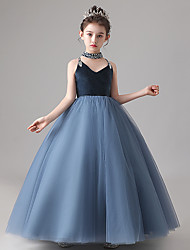 cheap -Princess / Ball Gown Strap Floor Length Tulle / Velvet Junior Bridesmaid Dress with Pleats / Beading