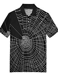 cheap -Men's Golf Shirt Tennis Shirt 3D Print Spider web Button-Down Print Short Sleeve Casual Tops Casual Fashion Soft Breathable Black / Sports