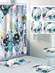 cheap -Beautiful Comic Flower Pattern Printing Bathroom Shower Curtain Leisure Toilet Four-piece Design