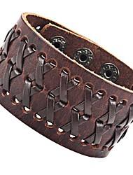 cheap -Stunning Brown Gipsy Kings Style Cuff Leather Bracelet Wristband Bangle Fashion (Resizable)