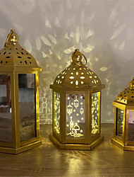 cheap -Ramadan Festival Decoration Light Iron Lantern Lamp Holiday Festival Decoration AAA Batteries Operated 1pc