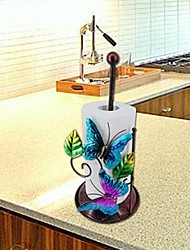 cheap -Wrought Iron Metal Paper Towel Rack Multifunctional Creative Three-dimensional Butterfly Storage Rack