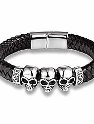 cheap -Black Braided Leather Triple Skull Bracelet for Men