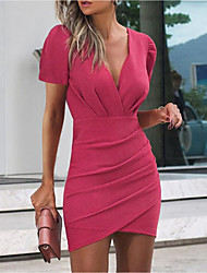 cheap -Women's Sheath Dress Short Mini Dress Black Blushing Pink Wine Fuchsia Gray Short Sleeve Solid Color Ruched Spring Summer V Neck Party Work Trendy 2021 S M L XL XXL 3XL