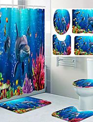 "cheap -Sea World Dolphin Shower Curtain Set Bathroom Shower Curtain Non-slip Bath Mat Toilet Lid and Waterproof Bathroom Rug Set Polyester with 12 Hooks, 72""x72"" 4pcs"