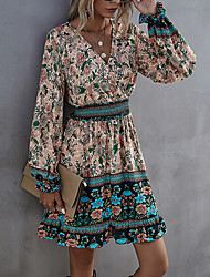 cheap -Women's Swing Dress Short Mini Dress Beige Long Sleeve Floral Color Block Patchwork Print Spring Summer V Neck Casual Vintage Boho 2021 S M L XL