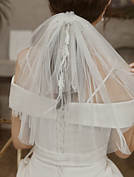 cheap -Two-tier Cute Wedding Veil Shoulder Veils with Satin Bow 15.75 in (40cm) Lace / Tulle