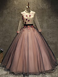 cheap -Ball Gown Luxurious Floral Quinceanera Prom Dress V Neck Long Sleeve Floor Length Tulle with Pleats Appliques 2021