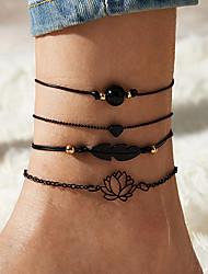cheap -Leg Chain Ethnic Vintage Classic Women's Body Jewelry For Street Masquerade Classic Alloy Heart Black 4pcs