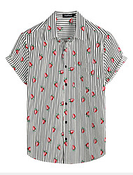 cheap -Men's Shirt Floral Short Sleeve Daily Tops 100% Cotton Basic Boho Black