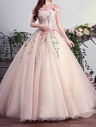 cheap -Ball Gown Luxurious Floral Quinceanera Prom Dress Off Shoulder Short Sleeve Floor Length Tulle with Pleats Embroidery 2021