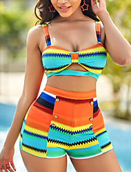 cheap -Women's Bikini 2 Piece Swimsuit Push Up Color Block Rainbow Swimwear Padded Crop Top Strap Bathing Suits New Colorful Sexy / Padded Bras