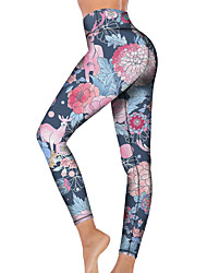 cheap -21Grams Women's High Waist Yoga Pants Cropped Leggings Tummy Control Butt Lift Breathable Light Blue Fitness Gym Workout Running Sports Activewear High Elasticity