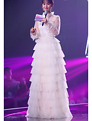 cheap -A-Line Celebrity Style Elegant Wedding Guest Formal Evening Dress Illusion Neck Long Sleeve Floor Length Tulle with Tier Lace Insert 2021
