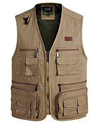 cheap -Men's Hiking Vest / Gilet Fishing Vest Work Vest Sleeveless Vest / Gilet Jacket Top Outdoor Quick Dry Lightweight Breathable Sweat wicking Autumn / Fall Spring Summer Army Yellow khaki off-white