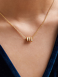 cheap -Women's Necklace Classic Alphabet Shape Simple Fashion Classic Holiday Alloy Gold 45 cm Necklace Jewelry 1pc For Street Gift Birthday Party Festival