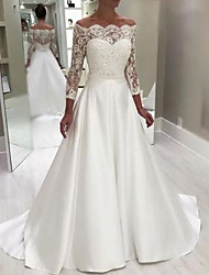 cheap -A-Line Wedding Dresses Off Shoulder Floor Length Lace Satin Long Sleeve Country Romantic with Appliques 2021