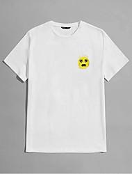 cheap -Men's Unisex T shirt Hot Stamping Cartoon Plus Size Print Short Sleeve Casual Tops 100% Cotton Basic Casual Fashion White