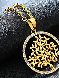 cheap -Women's Pendant Necklace Charm Necklace Retro Tree of Life Fashion Zircon Gold Plated Alloy Gold Silver 55 cm Necklace Jewelry 1pc For Christmas Wedding Halloween Party Evening Formal