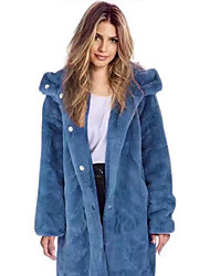 cheap -Women's Faux Fur Coat Long Solid Colored Daily Basic Blue Purple Yellow Blushing Pink S M L