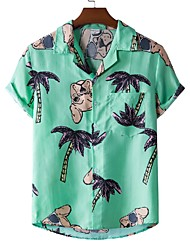 cheap -Men's Shirt Other Prints Dog Tree Animal Print Short Sleeve Casual Tops Beach Tropical Green