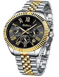 cheap -BIDEN Men's Steel Band Watches Analog Quartz Classic Calendar / date / day Large Dial Day Date / One Year / Stainless Steel / Japanese