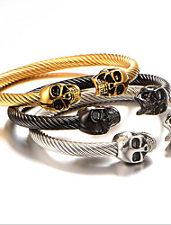 cheap -Men's Bracelet Bangles Classic Skull Fashion Titanium Steel Bracelet Jewelry Silver / Gold / Black For Anniversary Date Birthday Festival