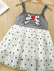 cheap -Kids Toddler Little Girls' Dress Black & White Polka Dot Check Mesh Patchwork Bow Black Knee-length Sleeveless Basic Dresses Summer Regular Fit 2-12 Years