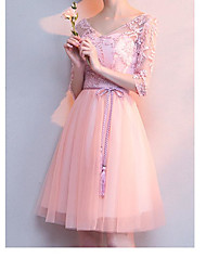 cheap -A-Line V Neck Knee Length Lace / Tulle Bridesmaid Dress with Appliques